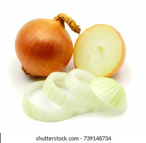 Onion and onion slices isolated on white background.