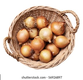 onions in a basket isolated on white background