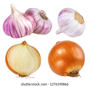 Onions and garlic  isolated on white background