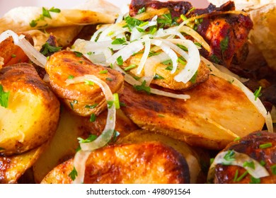 Onions on boiled potatoes