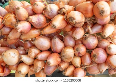 Onions on display on a market in Greece