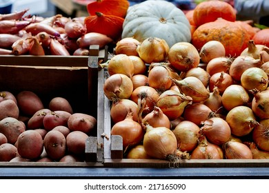 Onions and vegetables at the market