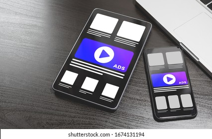 Online advertising on mobile devices - smartphone and Tablet PC. Cross Targeting Programmatic Advertising. Targeted advertising and marketing industry ads concept effect on different gadgets