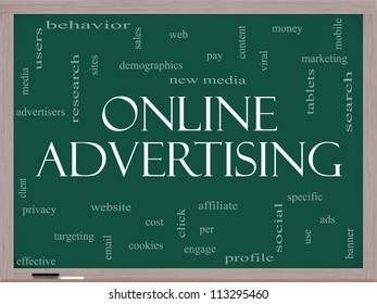 Online Advertising Word Cloud Concept on a Blackboard with great terms such as new media, social, click, sales, web and more.