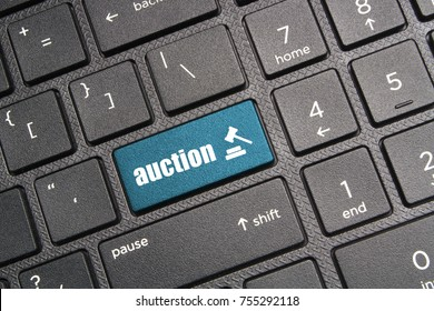 Online auction concept, keyboard with auction key