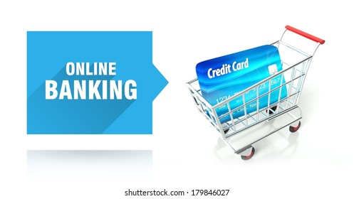 Online banking concept with credit card and shopping cart