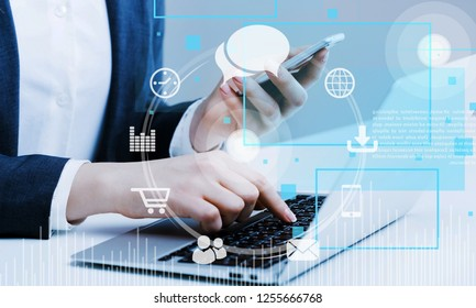 Online banking payment communication network digital technology internet wireless application development ctr mobile smartphone apps computing: Business woman holding smart phone omnichannel icon flow