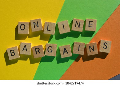Online Bargains in wood alphabet letters isolated on coloured background