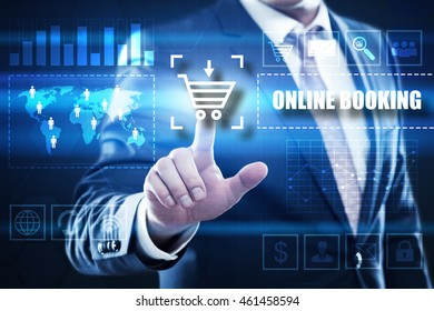 online booking, business, technology and internet concept: businessman are using a virtual computer and are selecting online booking.