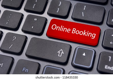 online booking concepts, with message on enter key of computer keyboard.