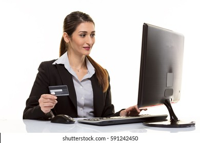 Online buying with card in internet.