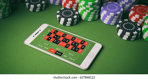 Online casino concept. Chips and smartphone on green felt background. 3d illustration
