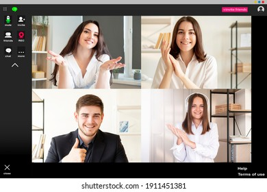 Online chat. Group conference. Distance communication. Remote presentation. Supportive corporate team applauding greeting successful female colleague with job promotion at virtual office on screen.