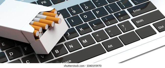 Online cigarettes. No name cigarette packet on computer keyboard. 3d illustration