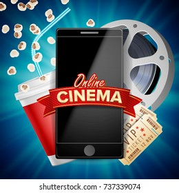 Online Cinema Banner . Realistic Smart Phone. Template For Placard, Promotion Material. Online Cinema Background. Luxury Banner Illustration.