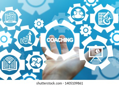 Online Coaching Training Business Technology. Hand offers modern education concept on a virtual screen.