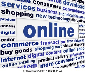 Online commerce business concept. New internet technology background