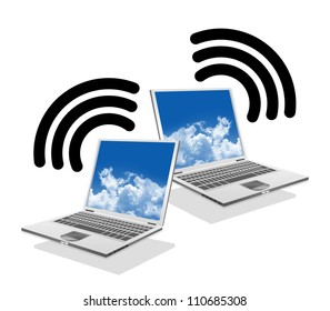 Online Communication Concept, Present By Computer Laptop With Wifi Sign Isolate on White Background