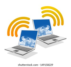 Online Communication Concept, Present By Computer Laptop With Orange Wifi Sign Isolated on White Background