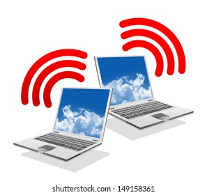 Online Communication Concept, Present By Computer Laptop With Red Wifi Sign Isolated on White Background
