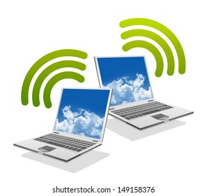 Online Communication Concept, Present By Computer Laptop With Green Wifi Sign Isolated on White Background