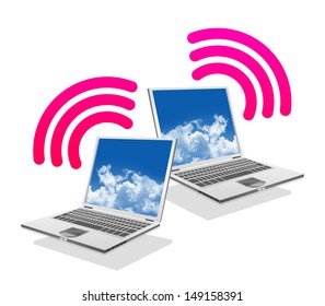 Online Communication Concept, Present By Computer Laptop With Pink Wifi Sign Isolated on White Background
