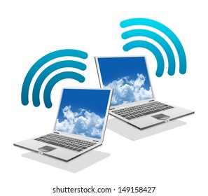 Online Communication Concept, Present By Computer Laptop With Blue Wifi Sign Isolated on White Background