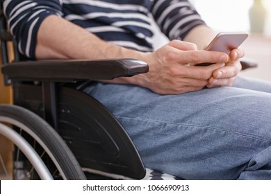 Online communication. Differently abled person being at home, typing message