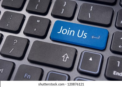 online communities concept, with 'join us' on computer keyboard.