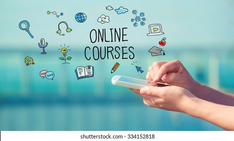 Online Courses concept with person holding a smartphone