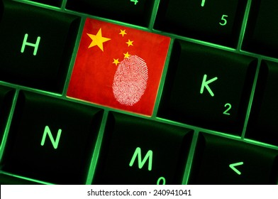 Online crime scene with a finger print left on backlit keyboard with Chinese flag on it