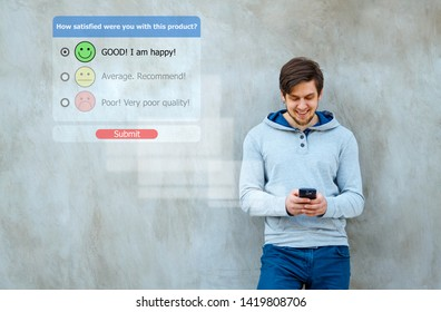 Online customer service satisfaction survey with checkbox on phone.  Customer experience concept.