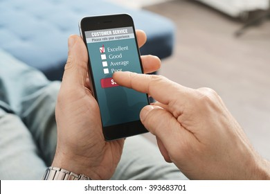Online customer service satisfaction survey on a mobile phone