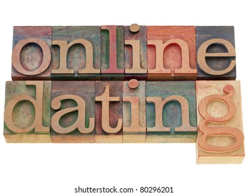 online dating - isolated words in vintage wood letterpress printing blocks