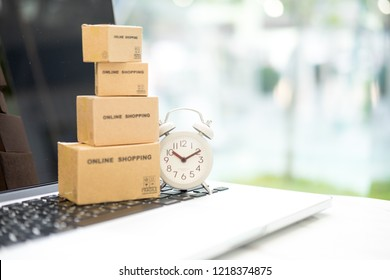 Online delivering package holding box with service mind. Fast and easy online shopping concept