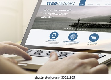online design concept: man using a laptop with webdesign on the screen. Screen graphics are made up.
