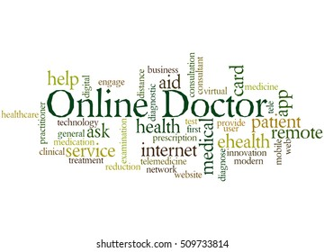 Online Doctor, word cloud concept on white background.