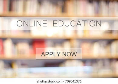 Online education banner over blur stdying people background, web banner, Education, E learning, technology concept