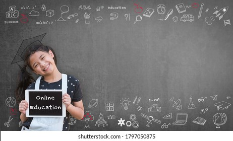 Online education class, e-learning success for kid with school girl child student learning using digital tablet and internet study lesson classroom with copy space of teacher's blackboard background