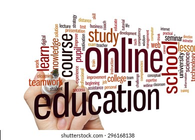 Online education concept word cloud background