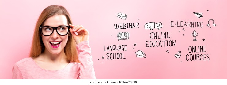 Online Education with happy young woman holding her glasses