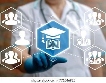 Online Education Healthcare concept. Training and Learning Medicine Technology. Medical nurse using virtual touchscreen presses book graduation cap button.