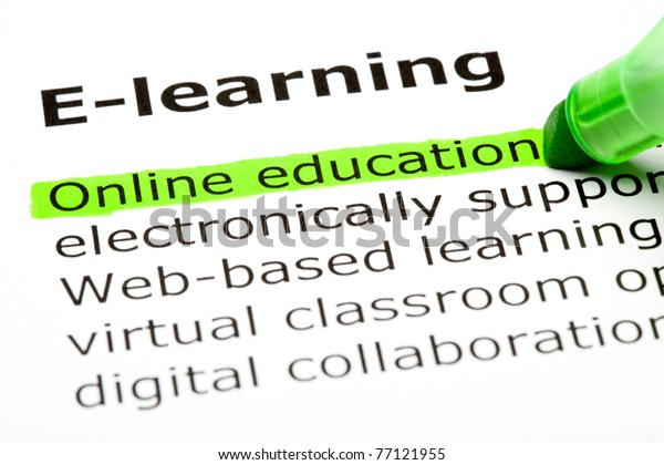 Online education highlighted in green, under the heading E-learning.