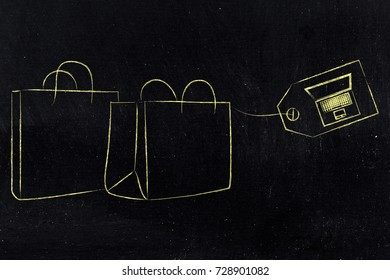 online exclusive offers concept: shopping bags with laptop on tag instead of price
