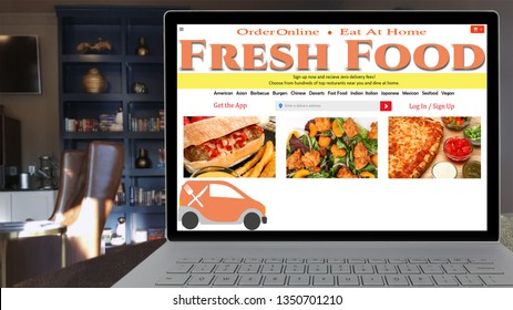 Online Fast Food Ordering with laptop at home on a mock website. Video.