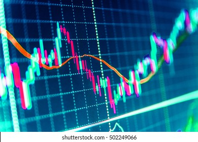 Online forex data. Stock analyzing. Stock exchange graph. New modern computer and business strategy as concept. Price chart bars. Financial diagram with candlestick chart.