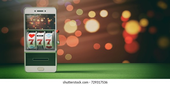 Online gambling, casino concept. Slot machine on a smartphone screen, green felt and abstract background. 3d illustration