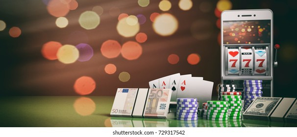 Online gambling concept. Slot machine on a smartphone screen, poker chips, cards and money. 3d illustration