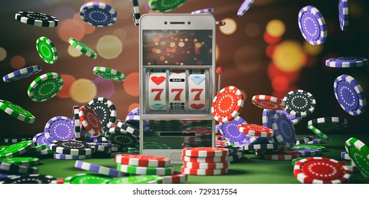 Online gambling concept. Slot machine on a smartphone screen, poker chips and abstract background. 3d illustration