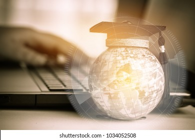 Online graduated study international Conceptual, Graduation hat on top Earth globe model map with Radar background. Congratulations to graduates diploma abroad, Studies lead to success in world wide